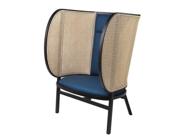 High-back beech armchair HIDEOUT LOUNGE CHAIR