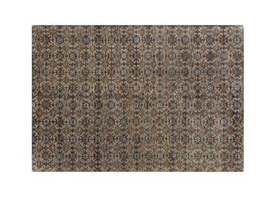 Patterned handmade rectangular wool rug HIDRAULIC