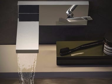 Wall-mounted washbasin mixer with plate HIM | Wall-mounted washbasin mixer