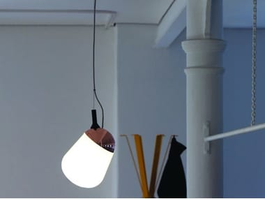 Compact fluorescent swivel glass pendant lamp HIPPO | Pendant lamp