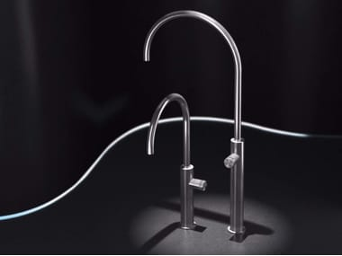 Countertop single handle stainless steel washbasin mixer without waste HIR4 | Washbasin mixer