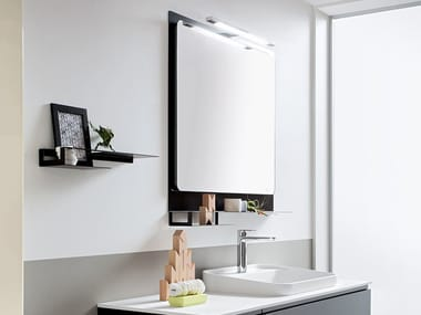 Wall-mounted bathroom mirror with integrated lighting HITO | Mirror