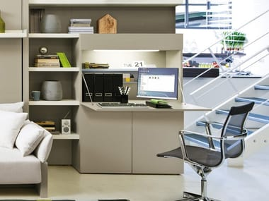 Freestanding melamine-faced chipboard storage wall with secretary desk HOME OFFICE