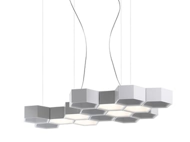 LED direct-indirect light pendant lamp HONEYCOMB