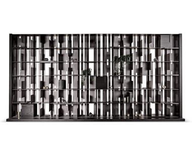 Freestanding sectional aluminium and wood bookcase HONG KONG