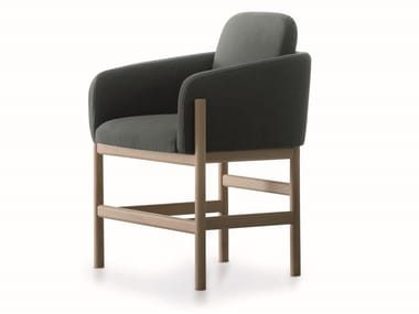 Upholstered fabric chair with armrests HOOD   Chair