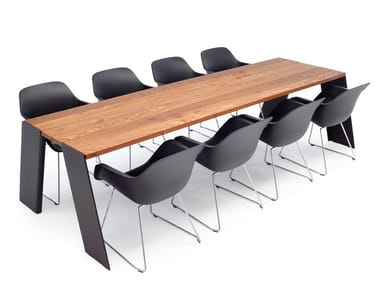 Rectangular iroko meeting table HOPPER | Meeting table