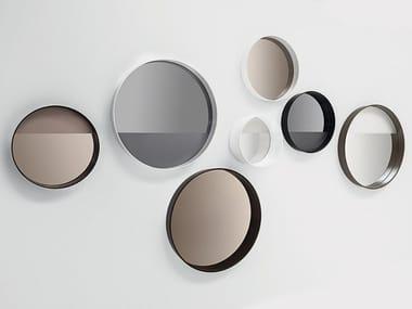Round wall-mounted framed mirror HORIZON LINEA