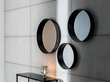 Round wall-mounted framed mirror HORIZON