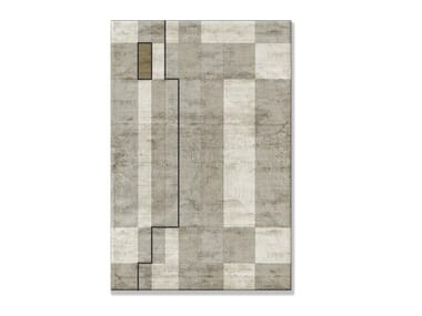 Handmade custom Bamboo silk rug with geometric shapes HOT