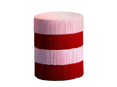 Round velvet pouf HOUTIQUE - CHACHACHÀ PINK+RED