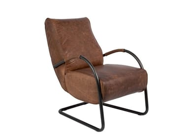 Cantilever leather armchair with armrests HOWARD | Cantilever armchair