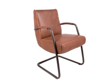 Cantilever leather chair with armrests HOWARD | Cantilever chair