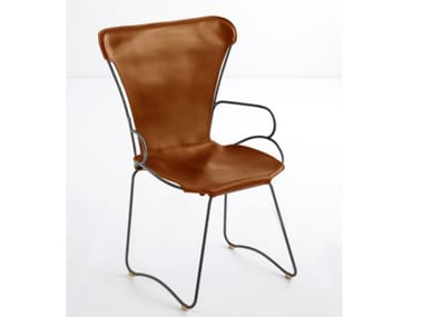 Sled base tanned leather chair with armrests HUG | Chair with armrests