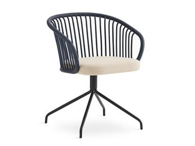 Swivel rattan chair with integrated cushion HUMA | Swivel chair