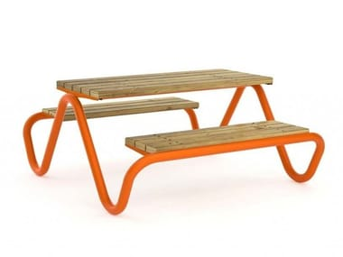 Picnic table HVILAN | Table for public areas with integrated benches
