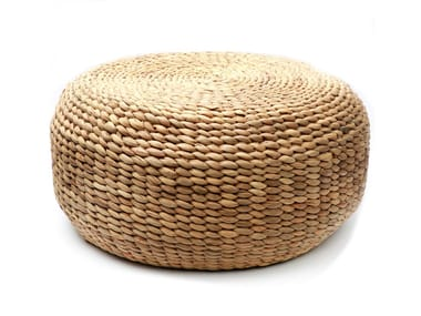 Round natural fibre pouf WATERHYACINTH | Pouf