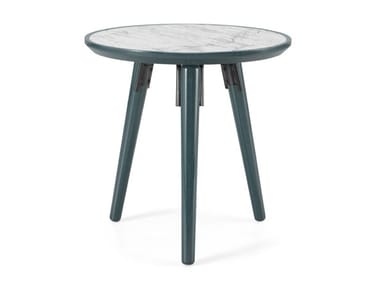 Lacquered Carrara marble side table HYDE | Side table