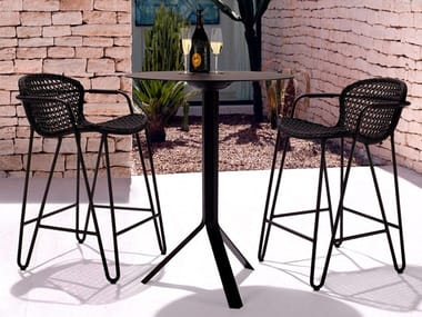 Round drop-leaf aluminium high table FIZZ BISTRO