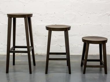 Set of 3 bog oak stools with footrest I BAMBINI
