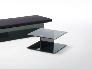 Tavolino basso quadrato in cristallo I-BEAM | Tavolino