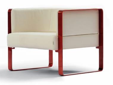 Upholstered fabric armchair with armrests IANUS   Armchair