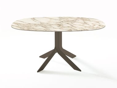 Square marble table with 4-star base IBLEA | Marble table