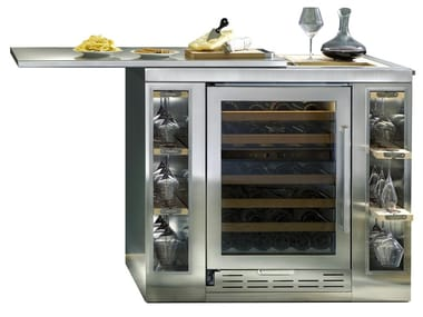Freestanding upright stainless steel wine cooler with glass door Class E ICB424GS WINE BAR | Wine cooler