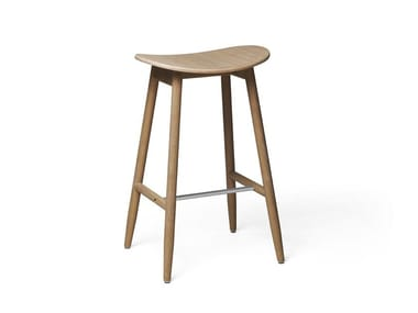 Bar stool in solid wood with a laminated seat ICHA | High stool