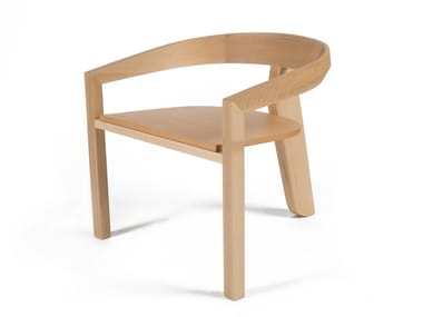 Wooden easy chair with armrests ICON LOUNGE