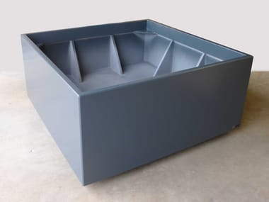 Planters on concealed casters with brake by retractable foot Planters on concealed casters