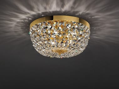Lampada da soffitto incandescente in ottone con cristalli IMPERO & DECO VE 846