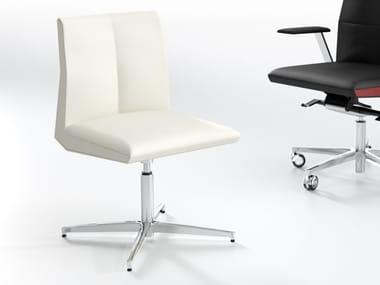 Cadeira estofada de 4 raios de pele IMPERO | Cadeira estofada