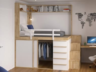 Solid wood bed with cabinet IMPERO YOUNG