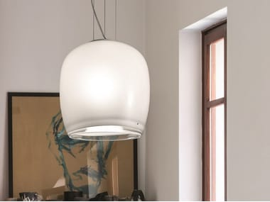 Glass pendant lamp IMPLODE SP 38
