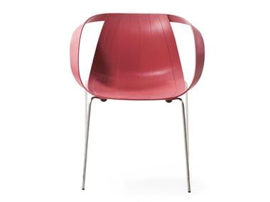 Sedia impilabile in polipropilene con braccioli IMPOSSIBLE WOOD | Sedia con braccioli