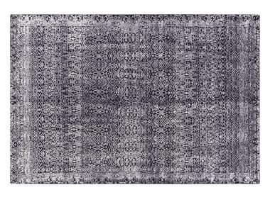 Patterned handmade rectangular wool rug INDIGO