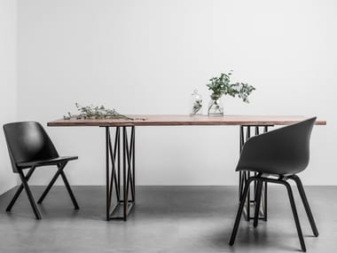 Rectangular table made solid teak INDUSTRIAL