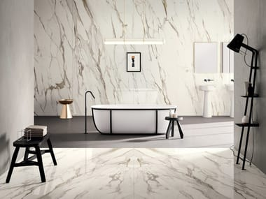 Porcelain stoneware wall/floor tiles with marble effect INFINITO 2.0 CALACATTA GOLD | Wall/floor tiles