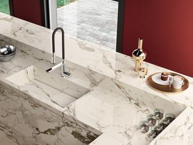 Porcelain stoneware kitchen worktop with marble effect INFINITO 2.0 CAPRAIA | Kitchen worktop