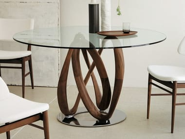 Round solid wood table and crystal top INFINITY | Round table