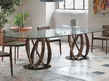 Oval solid wood table and crystal top INFINITY | Oval table