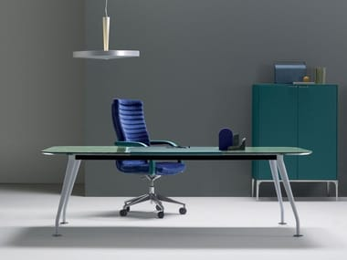 Rectangular leather executive desk with drawers INFINITY | Office desk