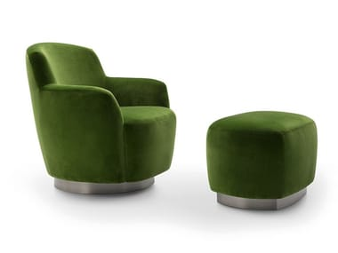 Swivel fabric armchair with armrests INGRID