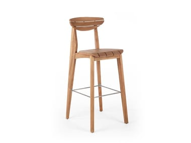 High wooden stool with footrest INK | Garden stool