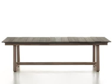 Rectangular garden table with wood-effect concrete slats INOUT 871 | Table