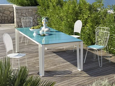 Rectangular garden table with lava stone top INOUT 933 | Table