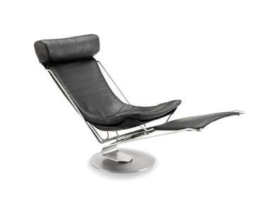 Leather armchair with headrest with footstool INTERDANE   Leather armchair