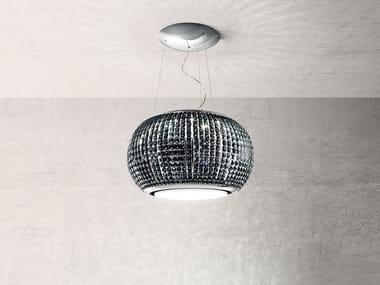 Steel island hood with integrated lighting INTERSTELLAR