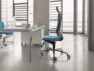 Swivel chair, high backrest with neckrest, with armrests INTOUCH | Executive chair